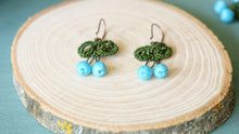 Load image into Gallery viewer, Needle Lace Earring - Turquoise Color - Verna Artisan Works
