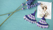 Load image into Gallery viewer, Floral Needle Lace Earrings - Lavender - Verna Artisan Works