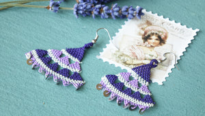 Floral Needle Lace Earrings - Lavender - Verna Artisan Works
