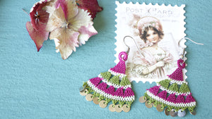 Floral Needle Lace Earrings - Various Colors - Verna Artisan Works