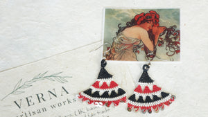 Floral Needle Lace Earrings - Black & Red - Verna Artisan Works