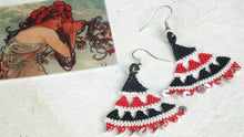 Load image into Gallery viewer, Floral Needle Lace Earrings - Black & Red - Verna Artisan Works