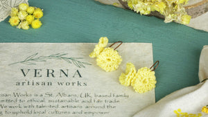 Divine Goddess Immortelle Flower Earrings - Verna Artisan Works