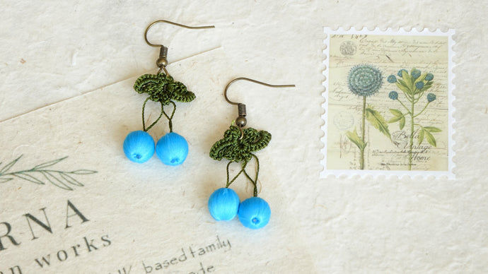 Needle Lace Earring - Aqua Blue Color - Verna Artisan Works