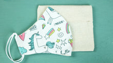 Load image into Gallery viewer, Washable Unicorn Pattern Face Mask with a Poach for Kids & Adults - Verna Artisan Works