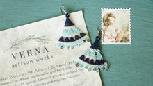 Load image into Gallery viewer, Floral Needle Lace Earrings - Light & Dark Blue - Verna Artisan Works