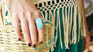 Ancient Goddess Chic Ring - Braided Turquoise - Verna Artisan Works