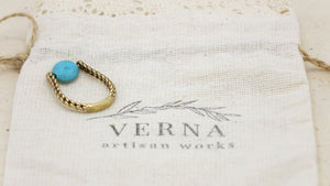 Ancient Goddess Chic Ring - Dainty Turquoise - Verna Artisan Works