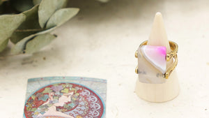 Ancient Goddess Chic Crystal Rose Quartz Ring - Verna Artisan Works