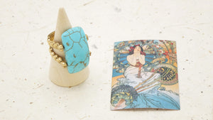 Ancient Goddess Chic Ring - Turquoise - Verna Artisan Works