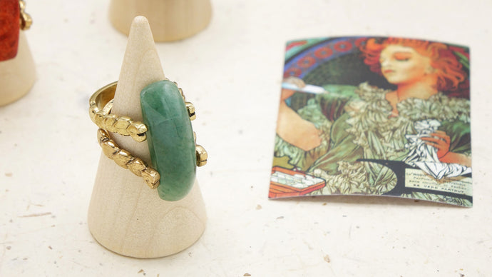 Ancient Goddess Chic Crystal Stone Ring - Verna Artisan Works
