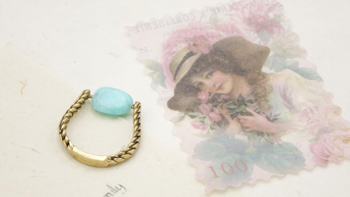 Ancient Goddess Chic - Amazonite Crystal Stone Ring - Verna Artisan Works