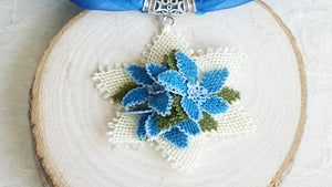 Needle Lace Scarf Necklace - Blue Color - Verna Artisan Works