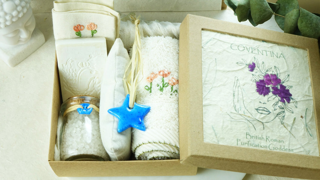 Embroidered Wellbeing Spa Set in a Gift Box - Verna Artisan Works