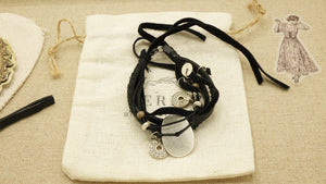 Victorian Style Leather Bracelet - Charmed - Verna Artisan Works