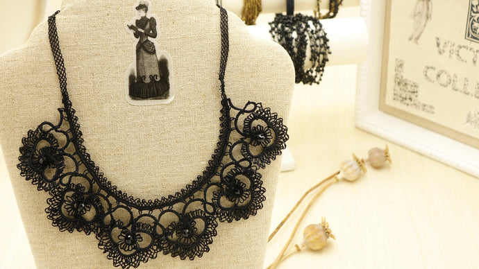 Victorian Style Needle Lace Necklace - Verna Artisan Works