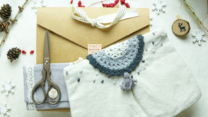 Crochet Accessories Clutch - Letterbox Gift Set - Grey - Verna Artisan Works