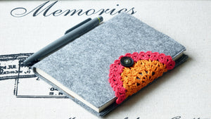 Notebook with Felt Cover and Crochet Detail - Verna Artisan Works