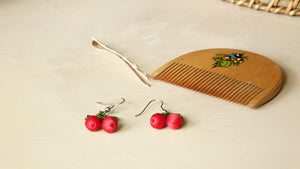 Needle Lace Cherry Earring - Verna Artisan Works