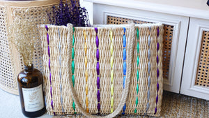 Rattan Straw Bag with Colorful Ribbon Details - Verna Artisan Works
