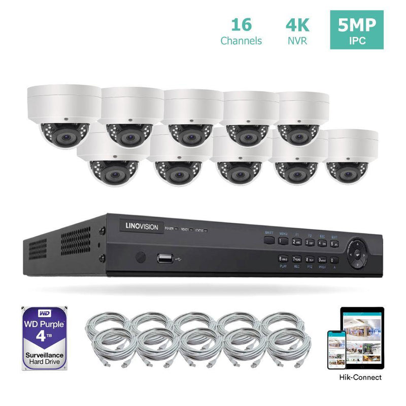 16 Channel 4K PoE Security Camera System 16CH 4K NVR and 10 Outdoor 5MP Dome PoE IP Cameras with 4TB HDD