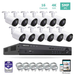 16CH 4K PoE IP Camera System 16 Channel 4K NVR and 12 5MP PoE Bullet Security Cameras With 4TB HDD - LINOVISION