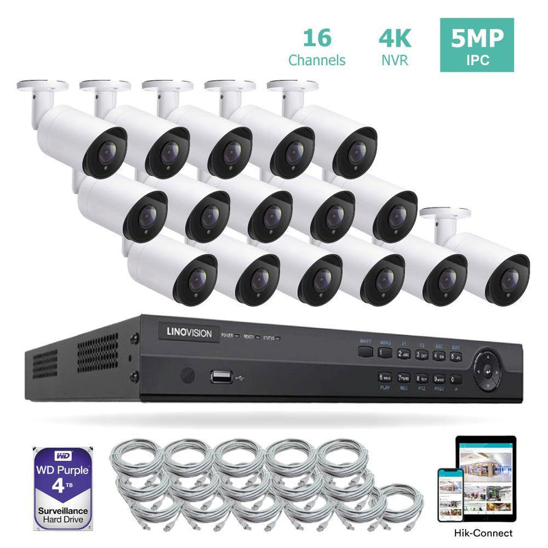 16CH 4K PoE IP Camera System 16 Channel 4K NVR and 16 5MP PoE Bullet Security Cameras With 4TB HDD