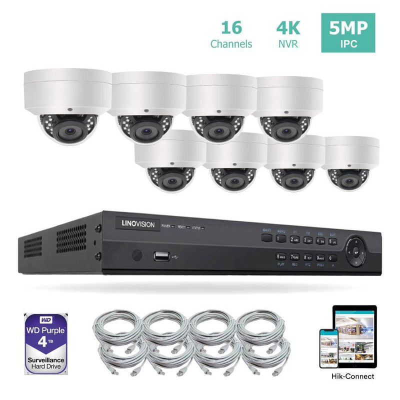 16 Channel 4K PoE Security Camera System 16CH 4K NVR and 8 Outdoor 5MP Dome PoE IP Cameras with 4TB HDD - LINOVISION