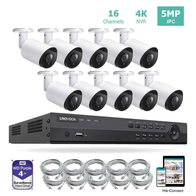16CH 4K PoE IP Camera System 16 Channel 4K NVR and 10 5MP PoE Bullet Security Cameras With 4TB HDD - LINOVISION