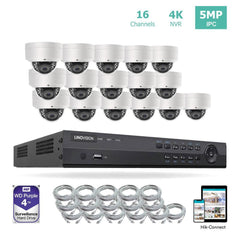 16 Channel 4K IP PoE Security Camera System 16ch 4K NVR and 16 Outdoor 5MP Dome PoE IP Cameras with 4TB HDD