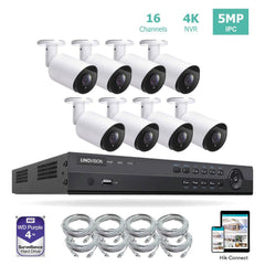 16CH 4K PoE IP Camera System 16 Channel 4K NVR and 8 5MP PoE Bullet Security Cameras With 4TB HDD