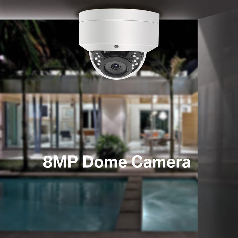 8MP IP Mini Dome PoE Camera With Built-in Mic Full Metal Housing 3.6mm - LINOVISION