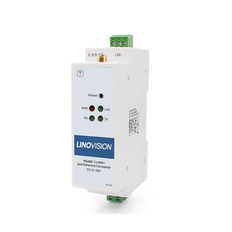 Serial Device Server to Convert 1-Port RS485 to Ethernet/Wi-Fi with DIN Rail Mounting - LINOVISION