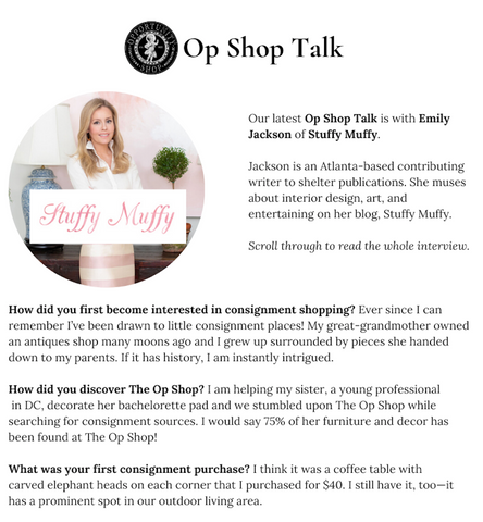 stuffy muffy op shop talk interview blog