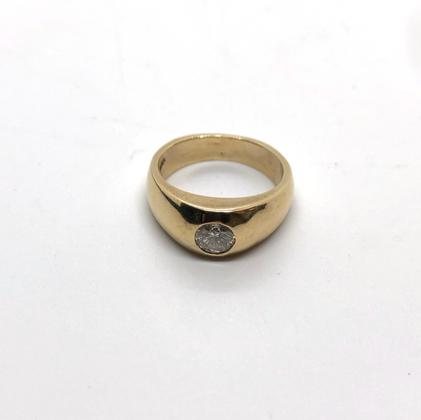14k Gold and Diamond Gypsy Ring