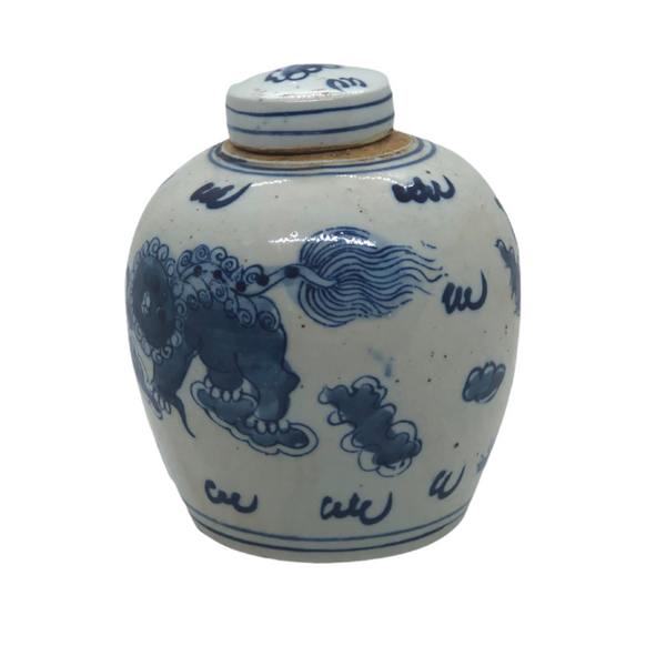 Blue and White Lidded Jar With Dragon - Opportunity Shop DC