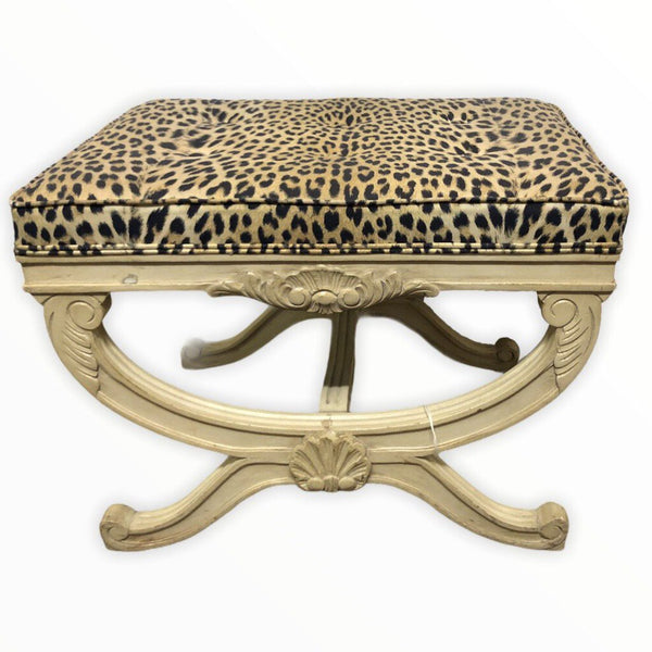 Upholstered Leopard Bench - Opportunity Shop DC