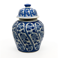 Blue and White Floral and Vine Ginger Jar - Opportunity Shop DC