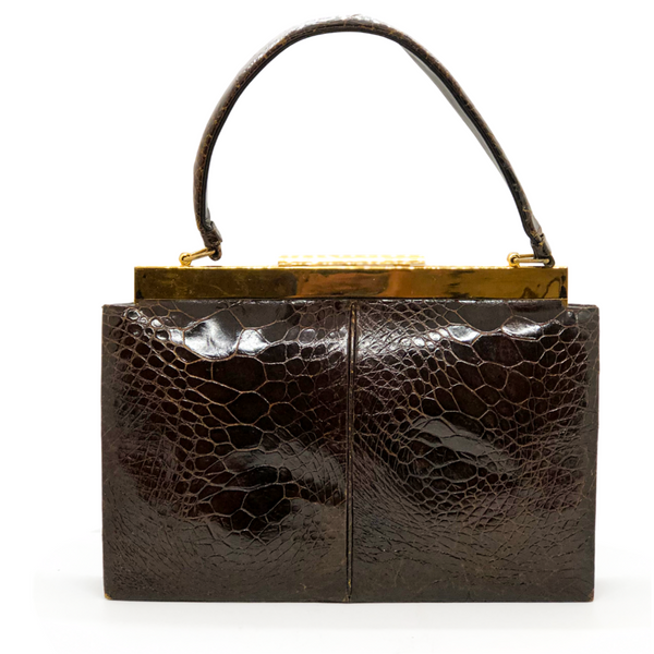 Vintage Brown Alligator Handbag