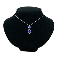 18k White Gold Sapphire and Diamonds Pendant Necklace - Opportunity Shop DC