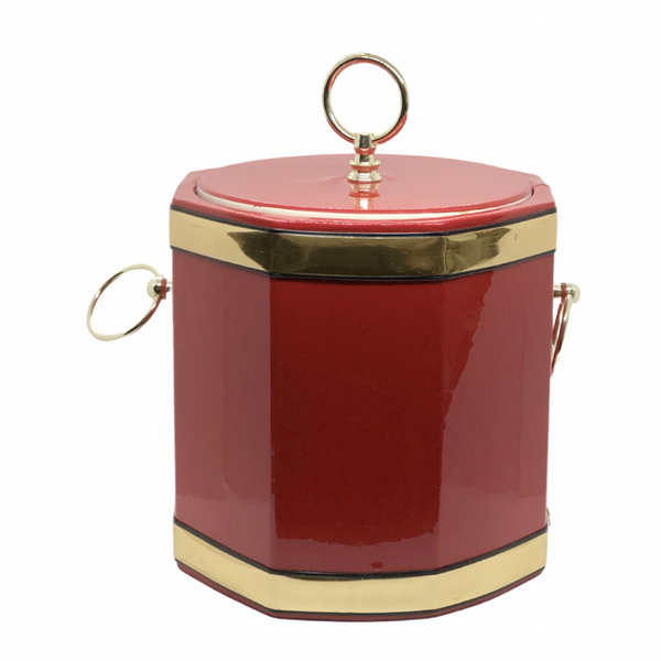 Vinyl and Brass Drum Shaped Ice Bucket