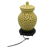 Yellow Pierced Ceramic Table Lamp - Opportunity Shop DC