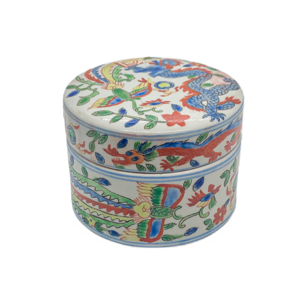 Famille Rose Porcelain Box With Dragon