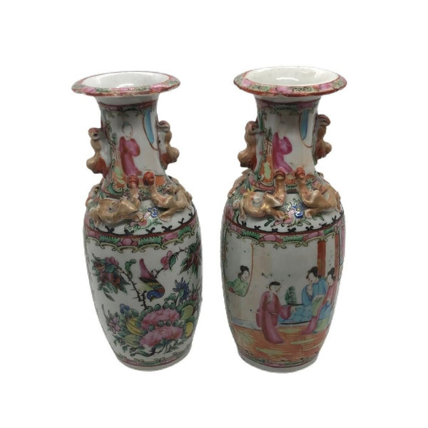 Famille Rose Vases From 19th Century, Pair