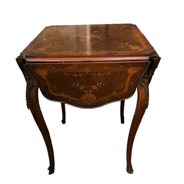 Louis XV Style Marquetry Drop-Leaf Table