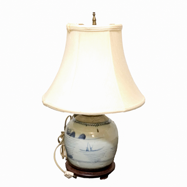 Blue and White Chinese Canton Jar Lamp