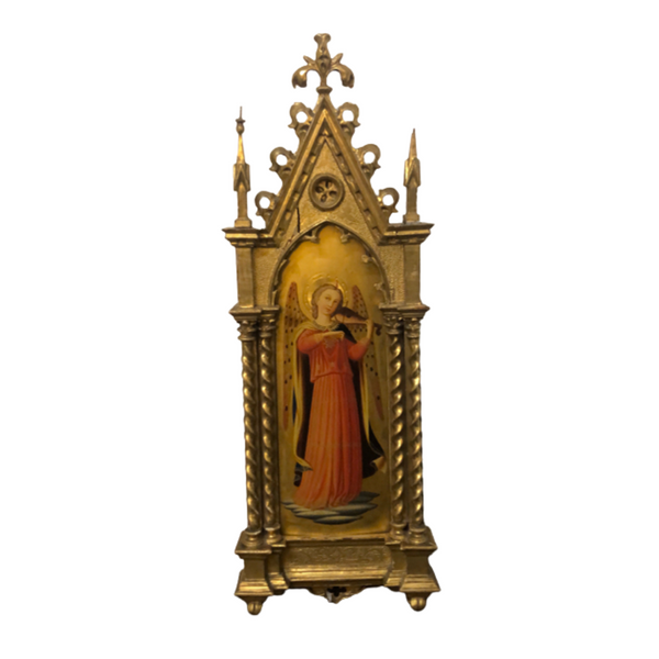 Italian Gothic Revival Gilt Wood Oil Angel