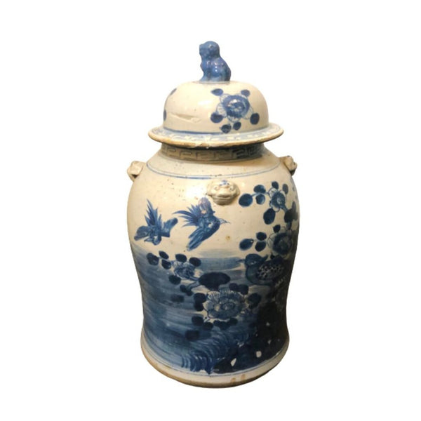 Blue and White Asian Temple Jar