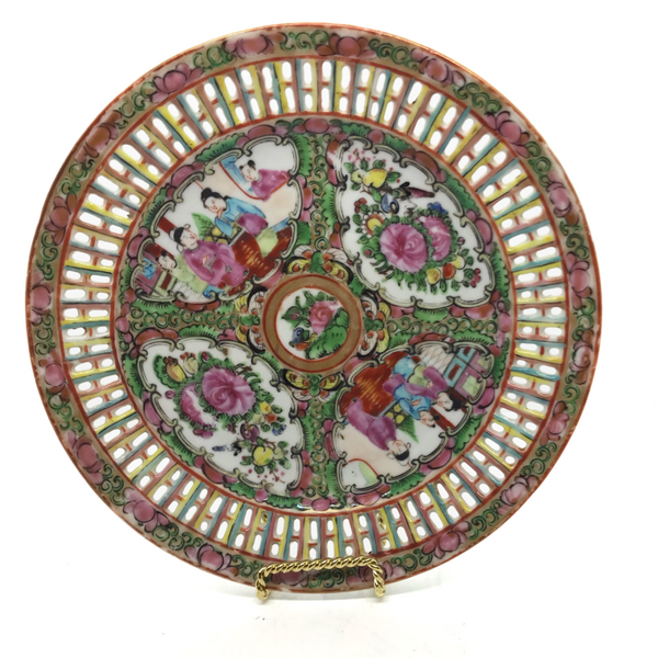 Famille Rose Reticulated Plate