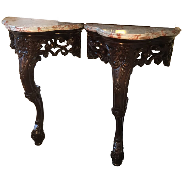 Pr. Carved Rosewood Marble Top Consoles